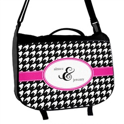 Houndstooth w/Pink Accent Messenger Bag (Personalized)