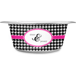 Houndstooth w/Pink Accent Stainless Steel Dog Bowl (Personalized)