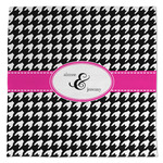 Houndstooth w/Pink Accent Large Microfiber Dish Rag (Personalized)