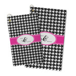 Houndstooth w/Pink Accent Microfiber Golf Towel (Personalized)