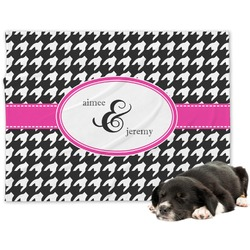 Houndstooth w/Pink Accent Minky Dog Blanket (Personalized)