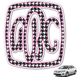 Houndstooth w/Pink Accent Monogram Car Decal (Personalized)