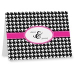 Houndstooth w/Pink Accent Note cards (Personalized)