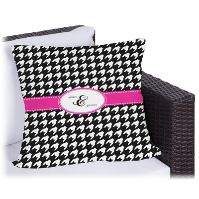 Houndstooth w/Pink Accent Outdoor Pillow (Personalized)