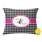 Houndstooth w/Pink Accent Outdoor Throw Pillow (Rectangular) (Personalized)