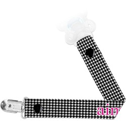 Houndstooth w/Pink Accent Pacifier Clips (Personalized)