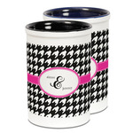 Houndstooth w/Pink Accent Ceramic Pencil Holder - Large