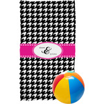 Houndstooth w/Pink Accent Beach Towel (Personalized)
