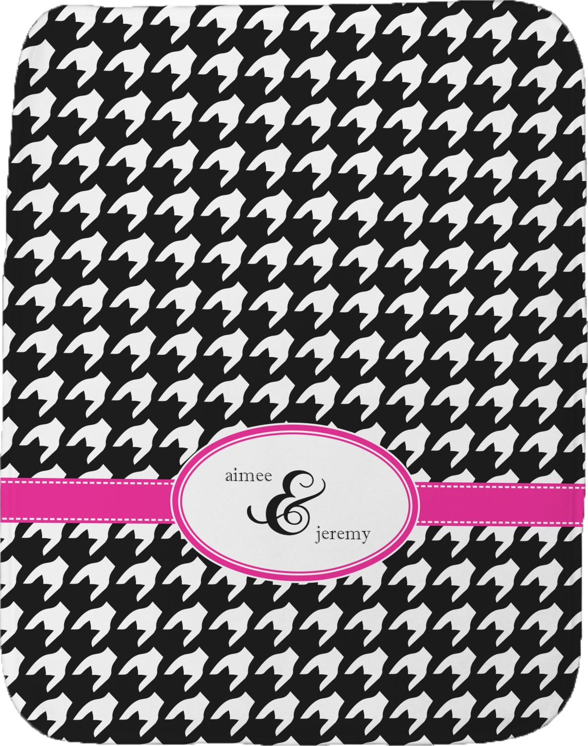Houndstooth W Pink Accent Burp Cloth Personalized