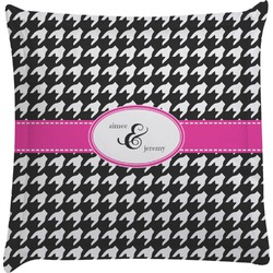 Houndstooth w/Pink Accent Euro Sham Pillow Case (Personalized)