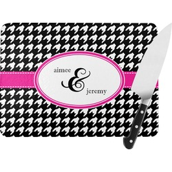 Houndstooth w/Pink Accent Rectangular Glass Cutting Board (Personalized)