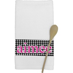 Houndstooth w/Pink Accent Kitchen Towel (Personalized)
