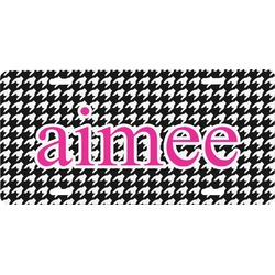 Houndstooth w/Pink Accent Front License Plate (Personalized)