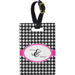 Houndstooth w/Pink Accent Plastic Luggage Tag - Rectangular w/ Couple's Names