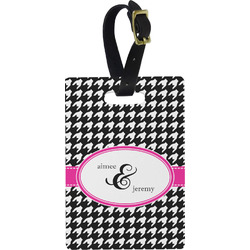 Houndstooth w/Pink Accent Rectangular Luggage Tag (Personalized)