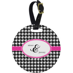 Houndstooth w/Pink Accent Round Luggage Tag (Personalized)