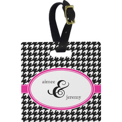 Houndstooth w/Pink Accent Luggage Tags (Personalized)