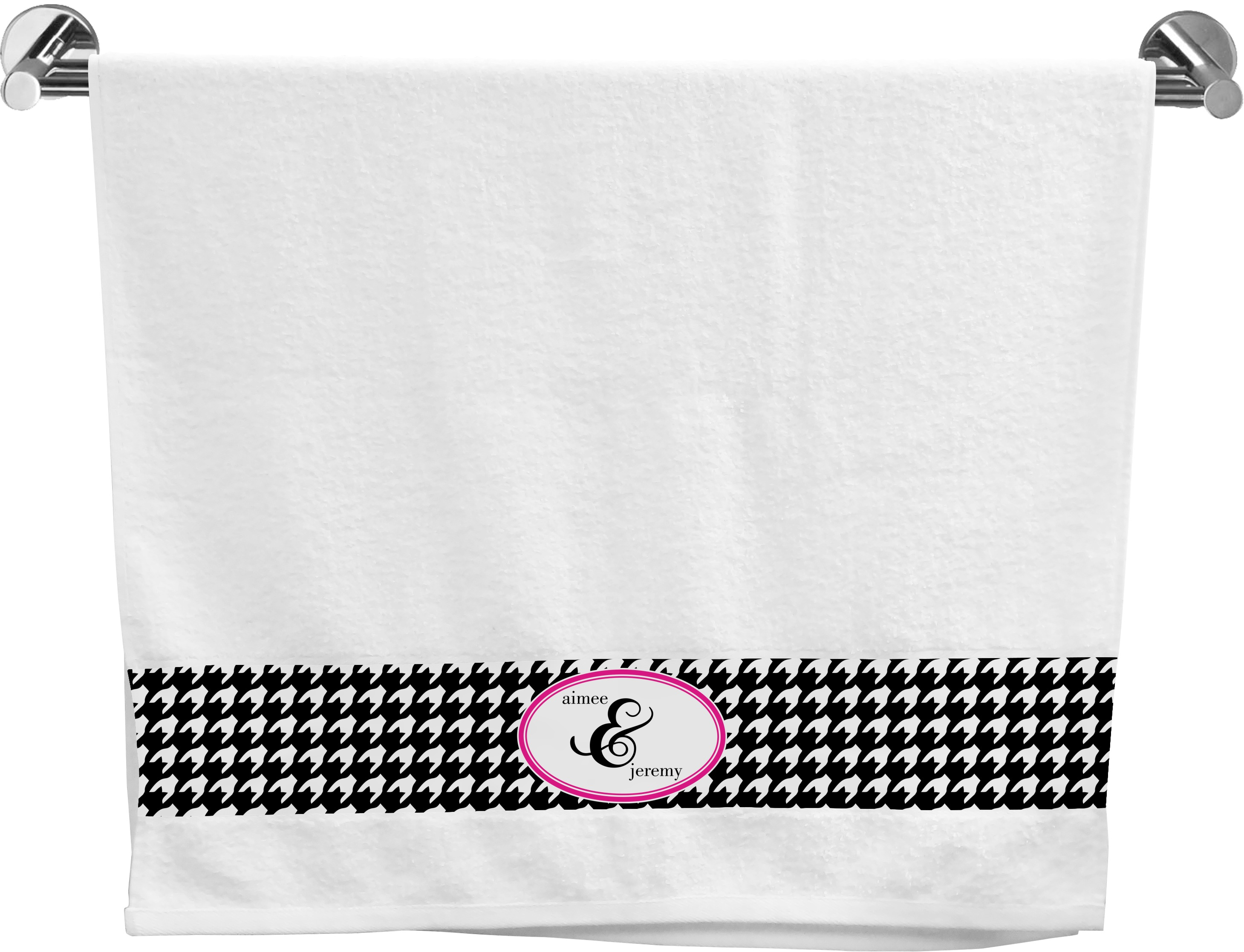 Houndstooth w/Pink Accent Bath Towel (Personalized) - YouCustomizeIt