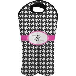 Houndstooth w/Pink Accent Wine Tote Bag (2 Bottles) (Personalized)
