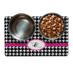 Houndstooth w/Pink Accent Dog Food Mat (Personalized)
