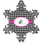 Houndstooth w/Pink Accent Vintage Snowflake Ornament (Personalized)