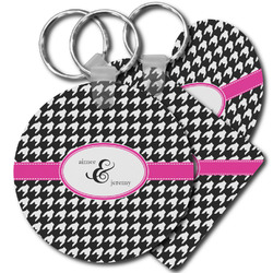 Houndstooth w/Pink Accent Plastic Keychains (Personalized)