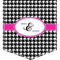 Houndstooth w/Pink Accent Iron On Faux Pocket (Personalized)