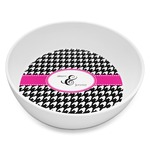 Houndstooth w/Pink Accent Melamine Bowl 8oz (Personalized)