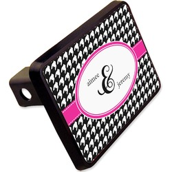 """Houndstooth w/Pink Accent Rectangular Trailer Hitch Cover - 2"""" (Personalized)"""