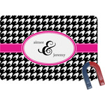 Houndstooth w/Pink Accent Rectangular Fridge Magnet (Personalized)