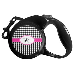 Houndstooth w/Pink Accent Retractable Dog Leash (Personalized)