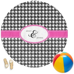 Houndstooth w/Pink Accent Round Beach Towel (Personalized)