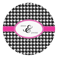 Houndstooth w/Pink Accent Round Decal - Small (Personalized)