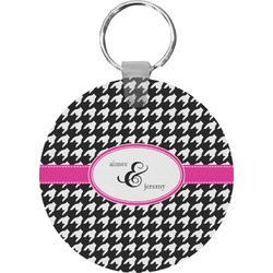Houndstooth w/Pink Accent Keychains - FRP (Personalized)