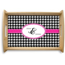 Houndstooth w/Pink Accent Natural Wooden Tray - Small (Personalized)