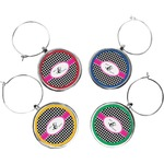 Houndstooth w/Pink Accent Wine Charms (Set of 4) (Personalized)