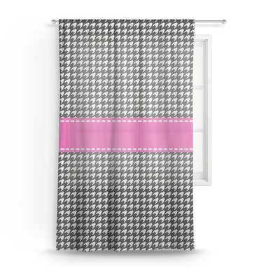Houndstooth w/Pink Accent Sheer Curtains (Personalized)
