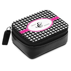 Houndstooth w/Pink Accent Small Leatherette Travel Pill Case (Personalized)