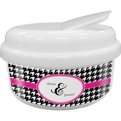 Houndstooth w/Pink Accent Snack Container (Personalized)