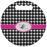 Houndstooth w/Pink Accent Stadium Cushion (Round) (Personalized)