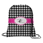 Houndstooth w/Pink Accent Drawstring Backpack (Personalized)