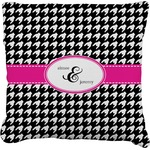 Houndstooth w/Pink Accent Faux-Linen Throw Pillow (Personalized)