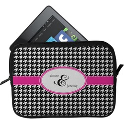 Houndstooth w/Pink Accent Tablet Case / Sleeve - Small (Personalized)