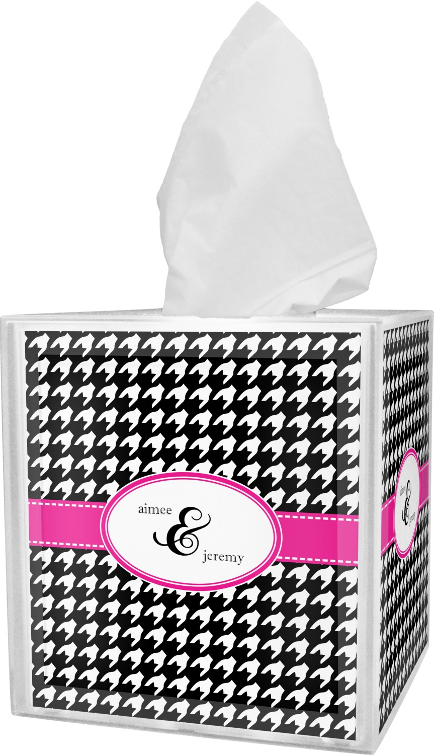 Houndstooth w/Pink Accent Bathroom Accessories Set (Personalized ...