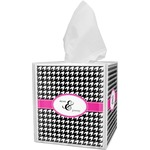 Houndstooth w/Pink Accent Tissue Box Cover (Personalized)