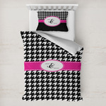 Houndstooth w/Pink Accent Toddler Bedding w/ Couple's Names