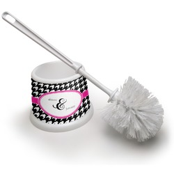 Houndstooth w/Pink Accent Toilet Brush (Personalized)