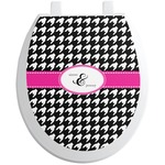 Houndstooth w/Pink Accent Toilet Seat Decal (Personalized)