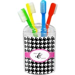 Houndstooth w/Pink Accent Toothbrush Holder (Personalized)