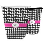 Houndstooth w/Pink Accent Waste Basket (Personalized)